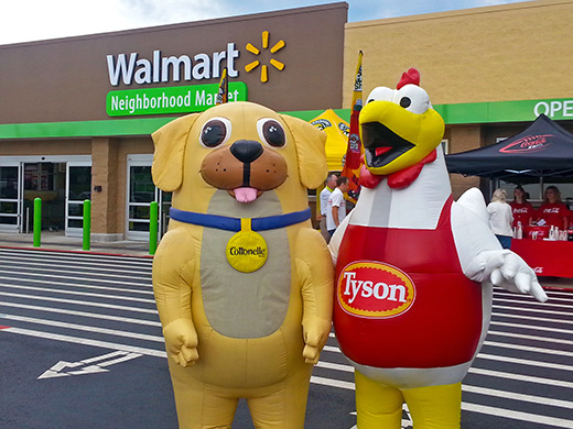 INFLATABLE PURINA DOG AND TYSON CHICKEN MASCOTS AT WALMART