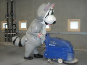 RACCON MASCOT CLEANING THE FLOORS