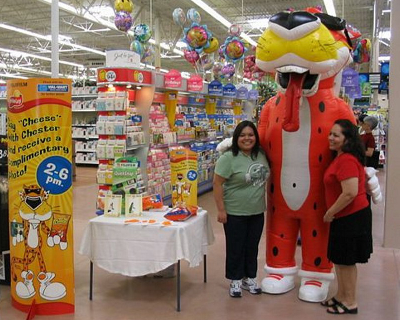 INFLATABLE CHESTER CHEETAH MASCOT AT WALMART