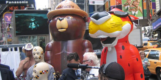 INFLATABLE CHESTER CHEETAH AND SMOKEY THE BEAR COSTUMES IN NEW YORK