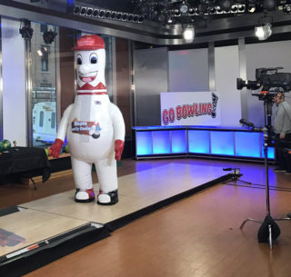 INFLATABLE BOWLING PIN MASCOT ON TV