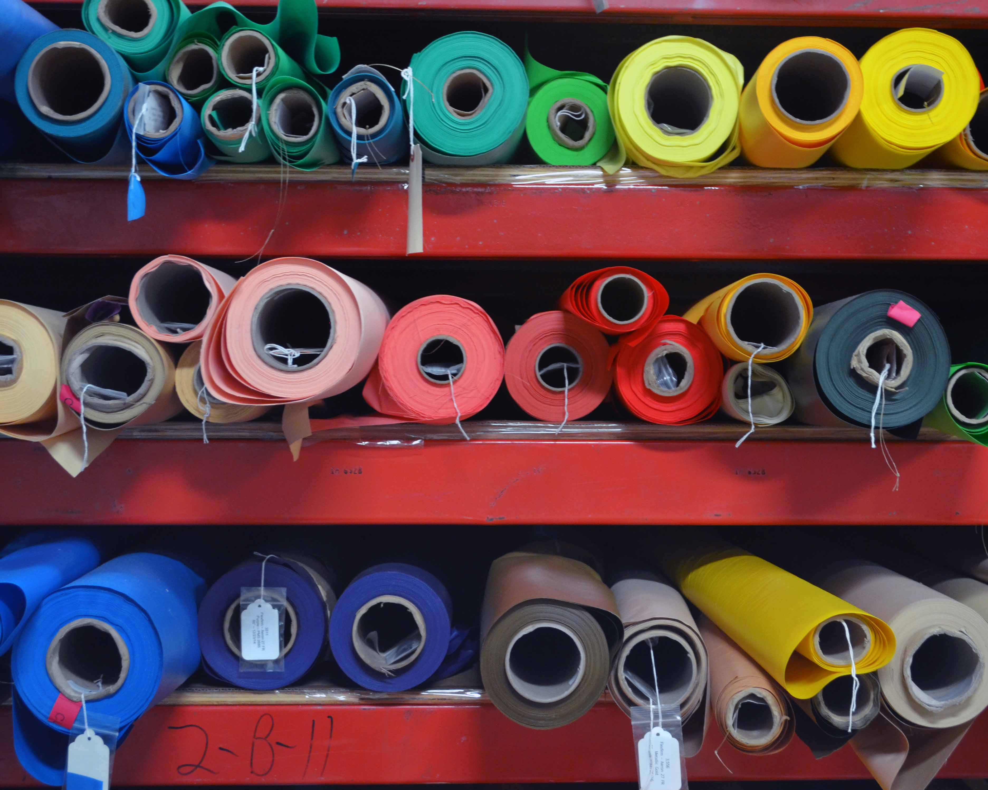 ROLLS OF FABRIC AT OUR FACTORY