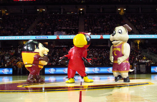 NBA Inflatable Cavs Mascots Dancing at Halfcourt