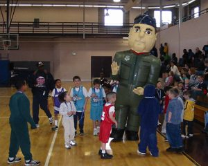 INFLATABLE FLIGHT SUIT MAN COSTUME AT SCHOOL